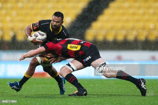 Mateaki Kafatolu of Wellington is tackled by Mitchell Dunshea of Canterbury during the round five Mitre 10 Cup match between Wellington and...