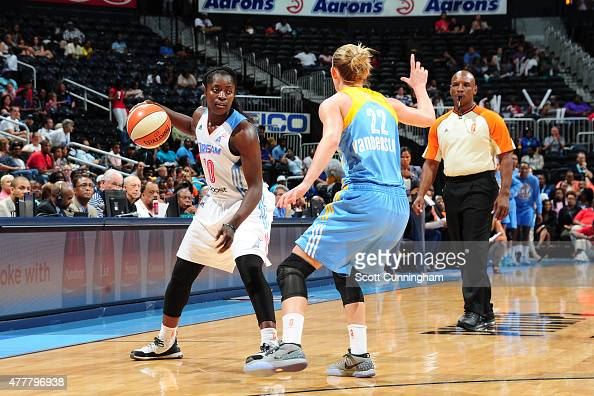 Matee Ajavon of the Atlanta Dream defends the ball against Courtney Vandersloot of the Chicago Sky during the game at Philips Center on June 19 2015...