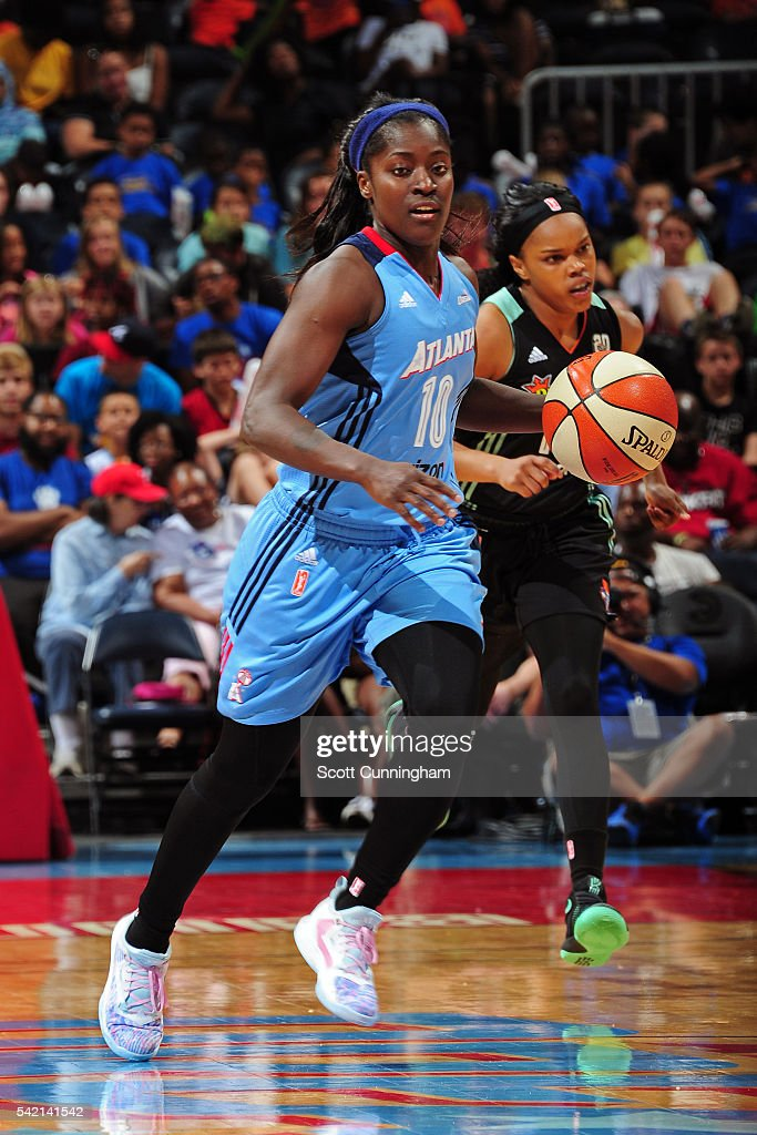 Matee Ajavon of the Atlanta Dream dribbles the ball against the New York Liberty during a WNBA game on June 22 2016 at Philips Arena in Atlanta...