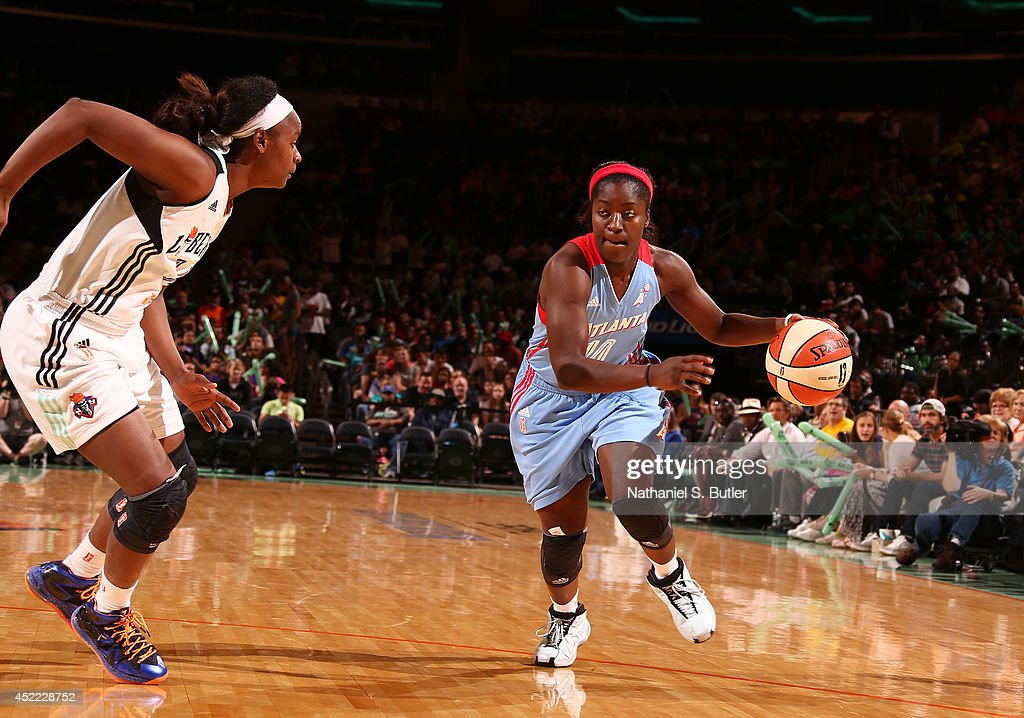 Matee Ajavon of the Atlanta Dream drives during a game against the New York Liberty at Madison Square Garden in New York City on July 16 2014 NOTE TO...