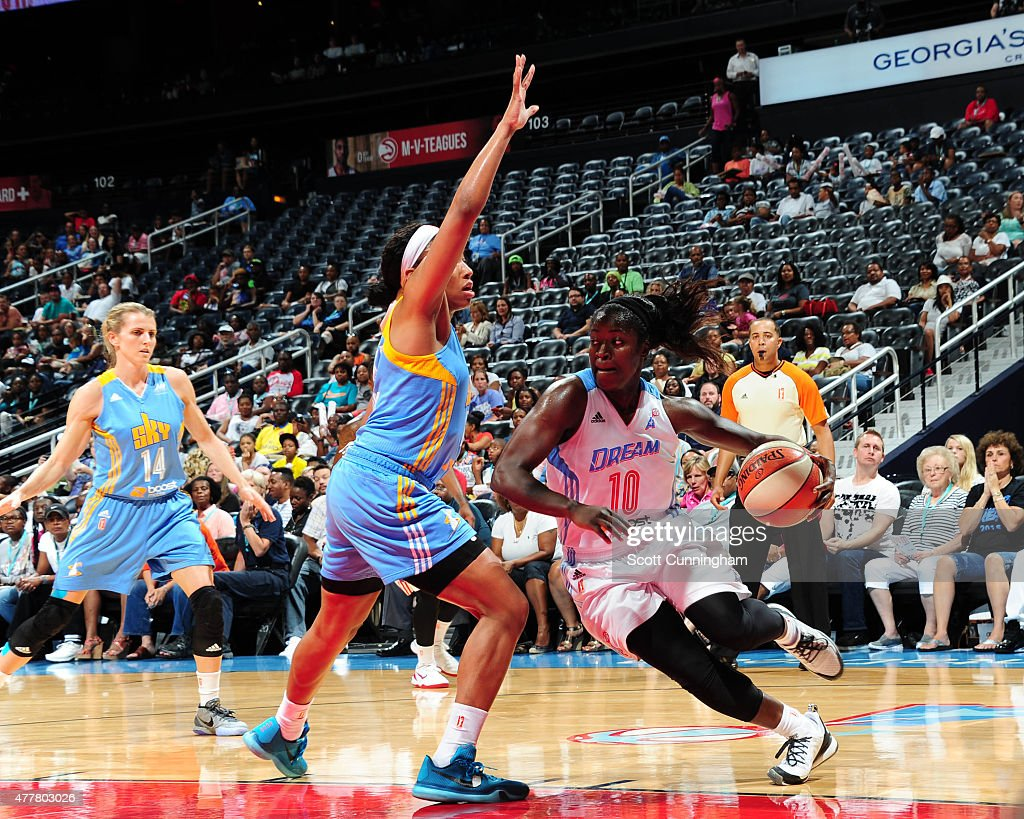 Matee Ajavon #10 of the Atlanta Dream drives to the basket against the Chicago Sky during the game at Philips Center on June 19, 2015 in Atlanta, Georgia.