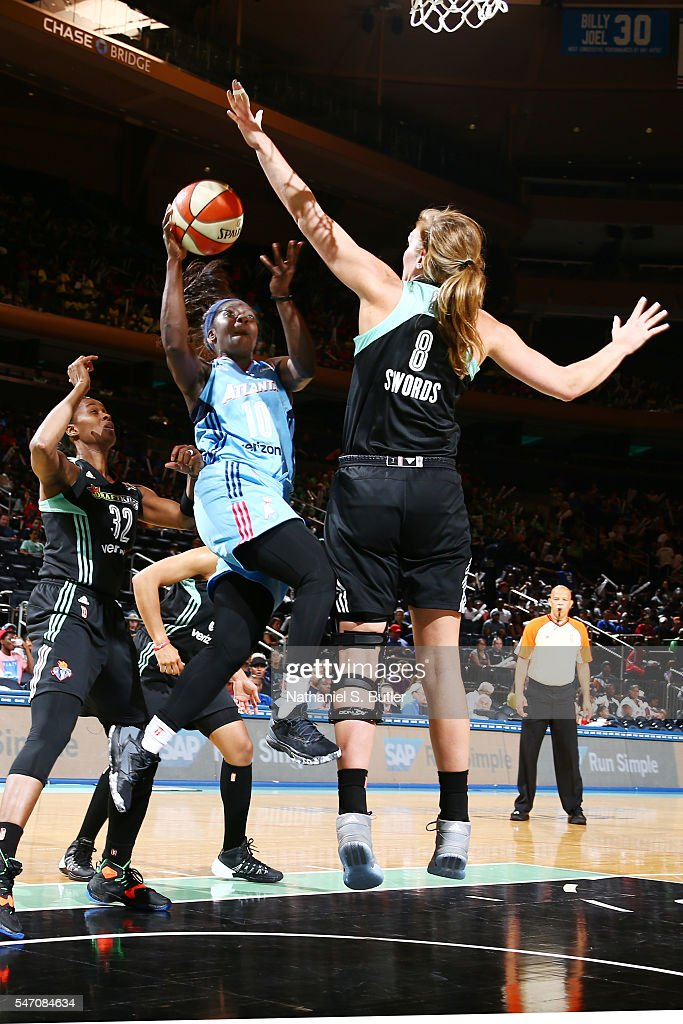 Matee Ajavon of the Atlanta Dream goes for a lay up against the New York Liberty on July 13 2016 at Madison Square Garden in New York New York NOTE...