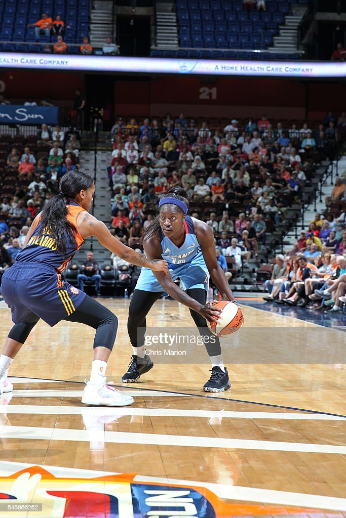 Matee Ajavon of the Atlanta Dream handles the ball against the Atlanta Dream on July 10 2016 at Mohegan Sun Arena in Uncasville CT NOTE TO USER User...
