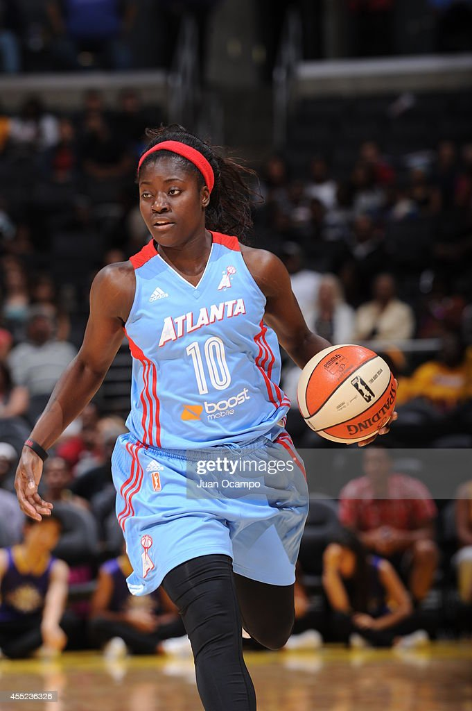 Matee Ajavon #10 of the Atlanta Dream handles the ball against the Los Angeles Sparks at Staples Center on August 8, 2014 in Los Angeles, California.