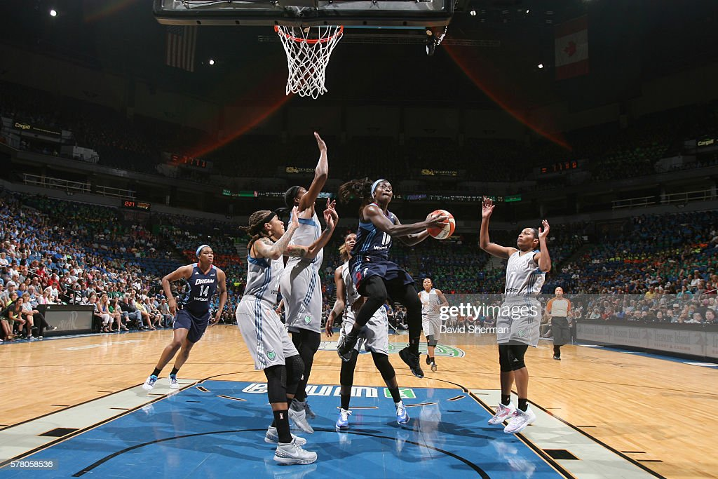 Matee Ajavon of the Atlanta Dream handles the ball against the Minnesota Lynx on July 20 2016 at Target Center in Minneapolis Minnesota NOTE TO USER...