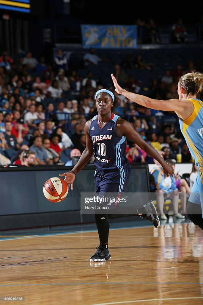 Matee Ajavon of the Atlanta Dream handles the ball against the Chicago Sky on August 26 2016 at the Allstate Arena in Rosemont Illinois NOTE TO USER...