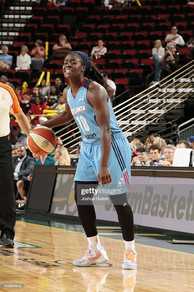 Matee Ajavon of the Atlanta Dream handles the ball against the Seattle Storm on June 28 2016 at Key Arena in Seattle Washington NOTE TO USER User...