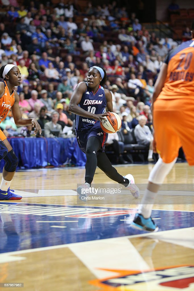 Matee Ajavon of the Atlanta Dream handles the ball against the Connecticut Sun on June 3 2016 at Mohegan Sun Arena in Uncasville CT NOTE TO USER User...