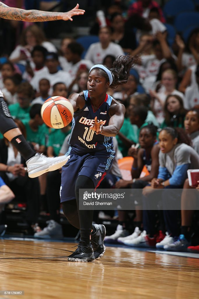 Matee Ajavon of the Atlanta Dream passes the ball against the Minnesota Lynx on July 20 2016 at Target Center in Minneapolis Minnesota NOTE TO USER...