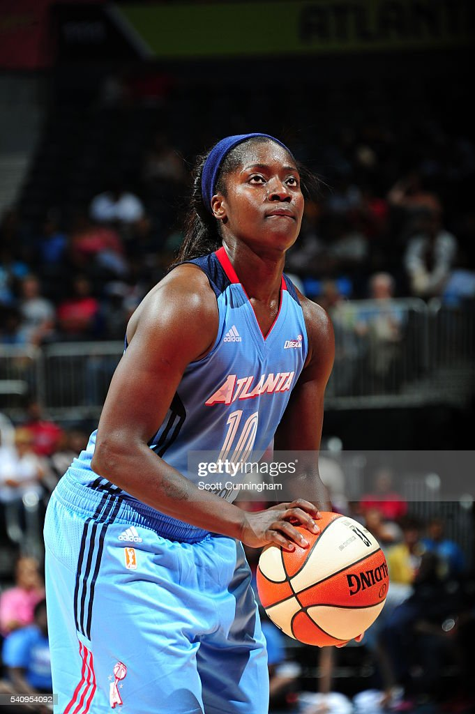 Matee Ajavon of the Atlanta Dream prepares to shoot a free throw against the Chicago Sky on June 17 2016 at Philips Arena in Atlanta Georgia NOTE TO...
