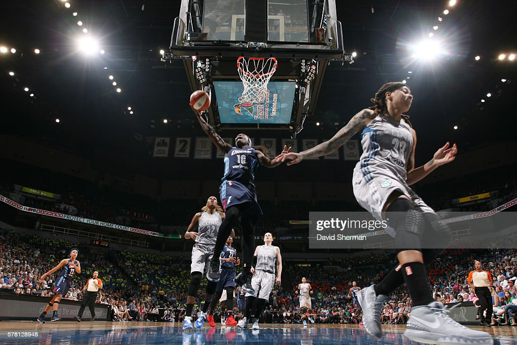 Matee Ajavon of the Atlanta Dream shoots a lay up against the Minnesota Lynx on July 20 2016 at Target Center in Minneapolis Minnesota NOTE TO USER...