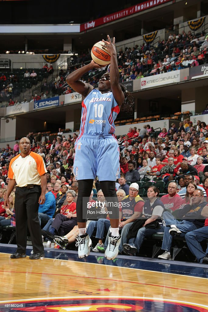 Matee Ajavon of the Atlanta Dream shoots against the Indiana Fever during the game on May 17 2014 at Bankers Life Fieldhouse in Indianapolis Indiana...