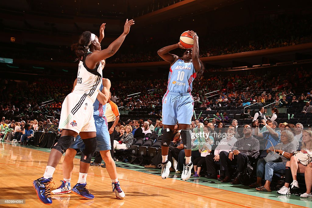 Matee Ajavon of the Atlanta Dream shoots against the New York Liberty at Madison Square Garden in New York City on July 16 2014 NOTE TO USER User...