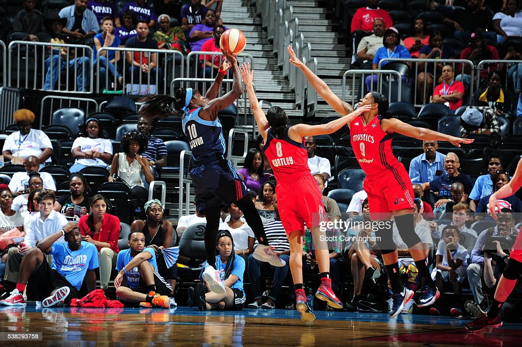 Matee Ajavon of the Atlanta Dream shoots the ball against the Washington Mystics on June 5 2016 at Philips Arena in Atlanta Georgia NOTE TO USER User...