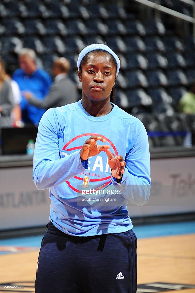 Matee Ajavon of the Atlanta Dream warms up before the game against the Dallas Wings on July 8 2016 at Philips Arena in Atlanta Georgia NOTE TO USER...
