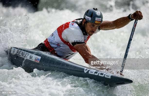 Matej Benus of Slovakia competes during the Canoe Single Men's Qualification of the ICF Canoe Slalom World Cup on June 23 2017 in Augsburg Germany