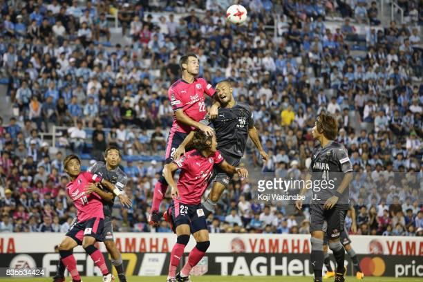 Matej Jonjic of Cerezo Osaka and Kengo Kawamata of Jubilo Iwata compete for the ball during the JLeague J1 match between Jubilo Iwata and Cerezo...