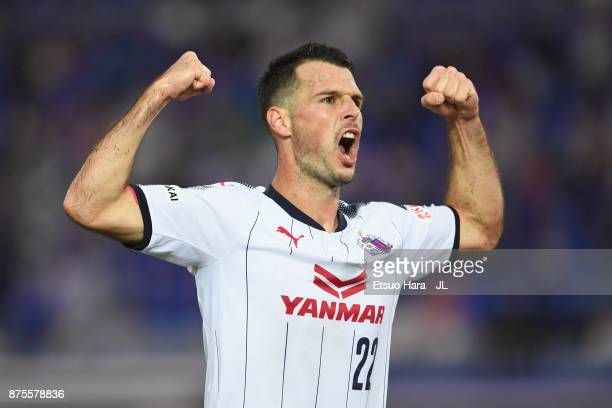 Matej Jonjic of Cerezo Osaka celebrates scoring his side's fourth goal during the JLeague J1 match between Yokohama FMarinos and Cerezo Osaka at...