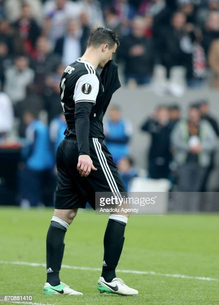 Matej Mitrovic of Besiktas after missing a penalty kick against Olympique Lyonnais during the UEFA Europa League quarter final second match between...