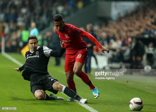 Matej Mitrovic of Besiktas in action against Corentin Tolisso during the match between Besiktas and Olympique Lyonnais UEFA Europa League quarter...