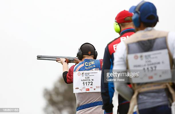 Matej Novota of Czech Republic competes in the Men's Skeet Shooting Qualification on Day 1 of the ISSF World Championship Shotgun at Las Palmas...