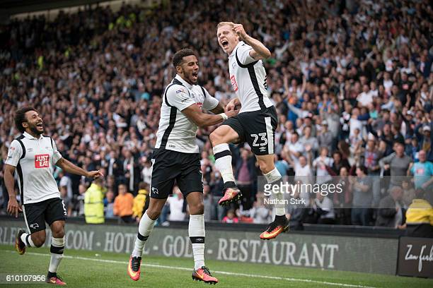 Matej Vydra of Derby County celebrates after scoring the first goal iduring the Sky Bet Championship match between Derby County and Blackburn Rovers...