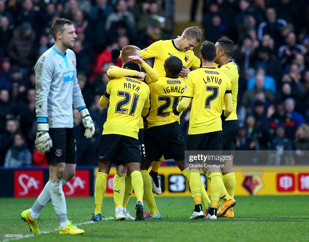 Matej Vydra of Watford celebrates after he scores the teams fourth goal of the game with team mates and fellow goals scorers Odion Ighalo and Troy...