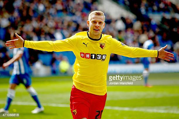 Matej Vydra of Watford celebrates after scoring to make it 20 during the Sky Bet Championship match between Brighton Hove Albion and Watford at Amex...