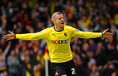 Matej Vydra of Watford celebrates scoring the opening goal during the Sky Bet Championship match between Watford and Sheffield Wednesday at Vicarage...
