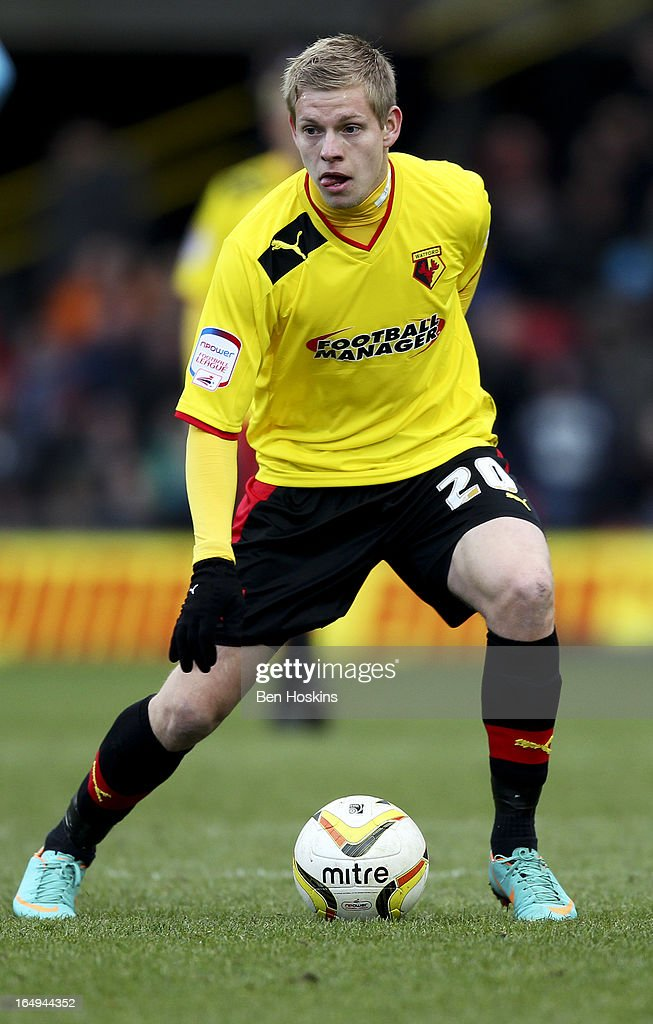 Matej Vydra of Watford in action during the npower Championship match between Watford and Burnley at Vicarage Road on March 29, 2013 in Watford, England.