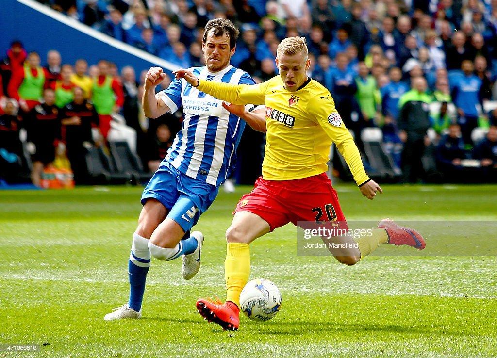 Matej Vydra Of Watford Scores Past Gordon Greer Of