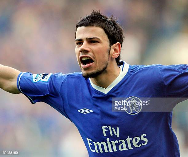 Mateja Kezman of Chelsea celebrates scoring his first and Chelsea's third goal of the game during the Barclays Premiership match between Chelsea and...