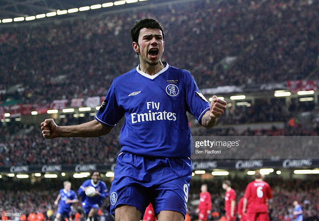 Mateja Kezman of Chelsea celebrates scoring their third and winning goal during the Carling Cup Final match between Chelsea and Liverpool at the...