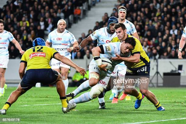 Matemini Masoe of Racing 92 before he scores a try during the Top 14 match between Racing 92 and Clermont Auvergne at Stade PierreMauroy on March 25...