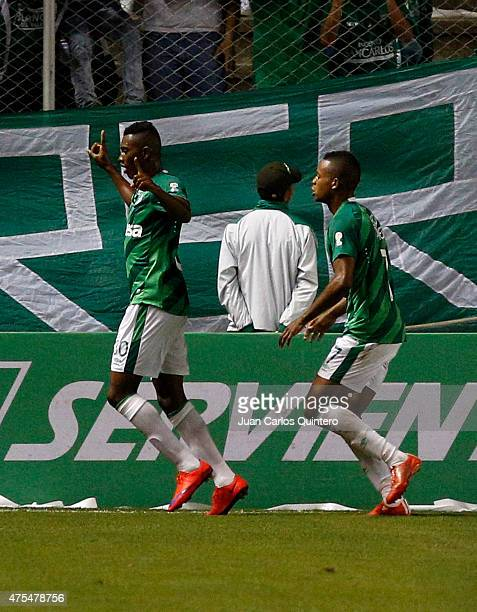 Mateo Casierra of Deportivo Cali celebrates after scoring the first goal of his team during a second leg match between Deportivo Cali and Millonarios...