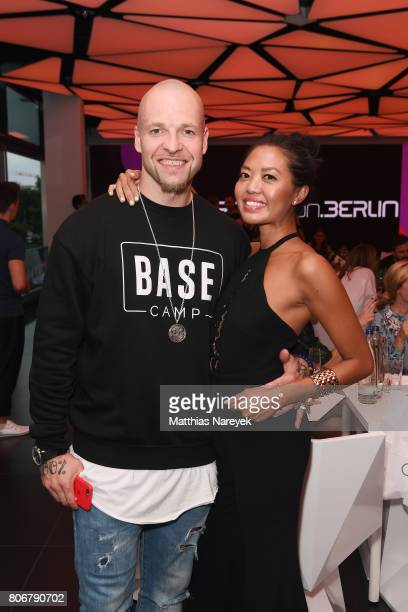 Mateo Jaschik and Tanya Ernst during the Marcell von Berlin 'Genesis' collection presentation on July 3 2017 in Berlin Germany