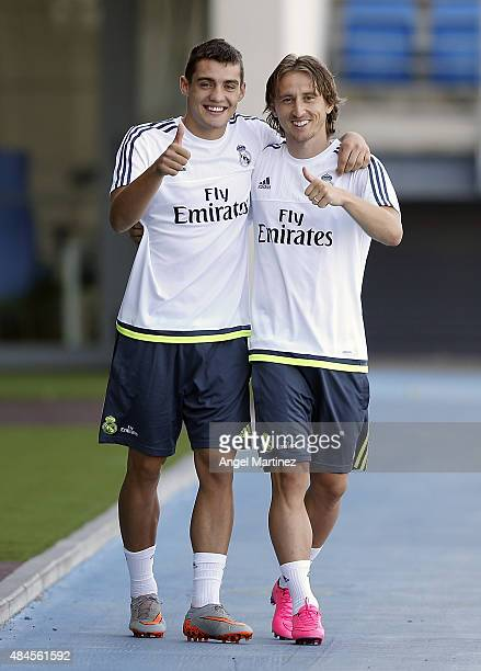 Mateo Kovacic and Luka Modric of Real Madrid pose for a picture during a training session at Valdebebas training ground on August 20 2015 in Madrid...