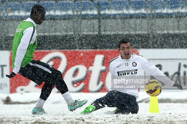 Mateo Kovacic competes with Isaak Donkor during an FC Internazionale training session at the club's training ground on February 5 2015 in Appiano...