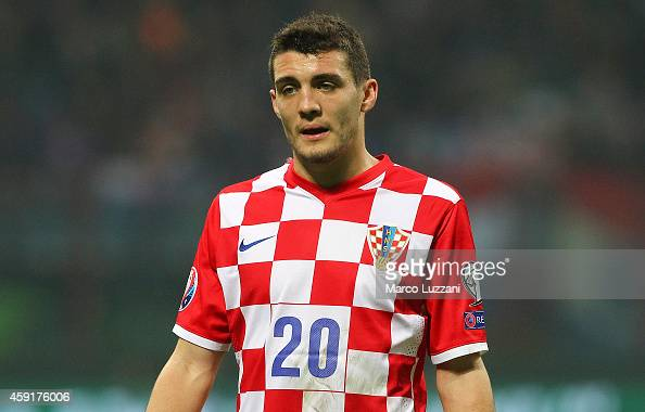 Mateo Kovacic of Croatia looks on during the EURO 2016 Group H Qualifier match between Italy and Croatia at Stadio Giuseppe Meazza on November 16...