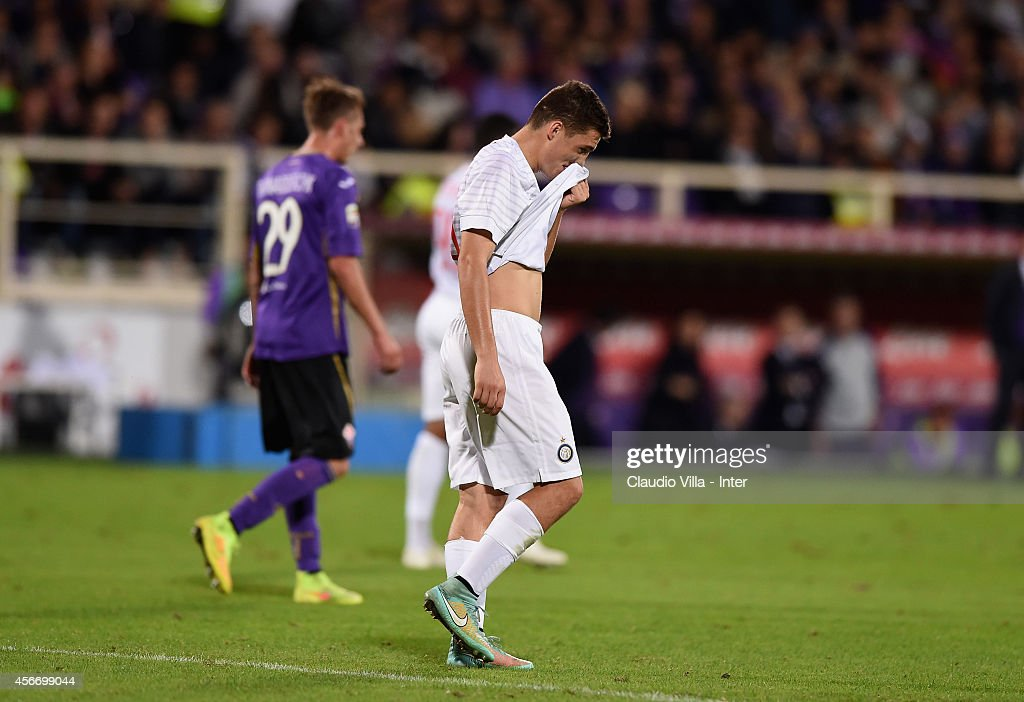 Mateo Kovacic of FC Internazionale dejected during the Serie A match between ACF Fiorentina and FC Internazionale Milano at Stadio Artemio Franchi on October 5, 2014 in Florence, Italy.
