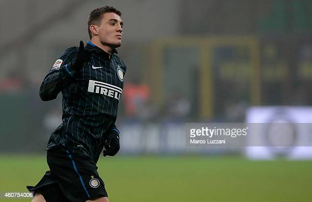 Mateo Kovacic of FC Internazionale Milano celebrates his goal during the Serie A match betweeen FC Internazionale Milano and SS Lazio at Stadio...