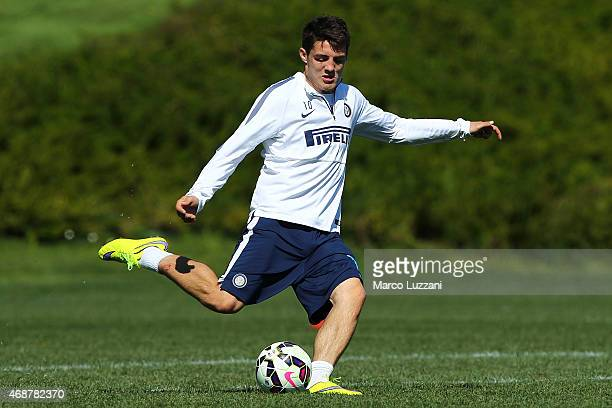 Mateo Kovacic of FC Internazionale Milano kicks a ball during FC Internazionale training session at the club's training ground on April 7 2015 in...