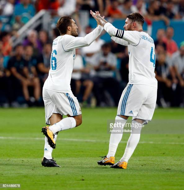 Mateo Kovacic of Real Madrid celebrates after scoring whit Sergio Ramos during the international champions cup match between Real Madrid CF and FC...