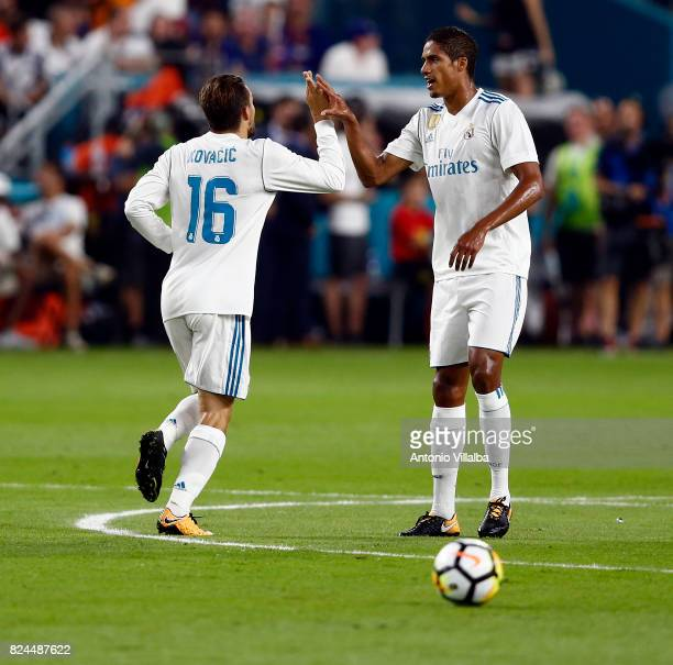 Mateo Kovacic of Real Madrid celebrates after scoring whit Varane during the international champions cup match between Real Madrid CF and FC...