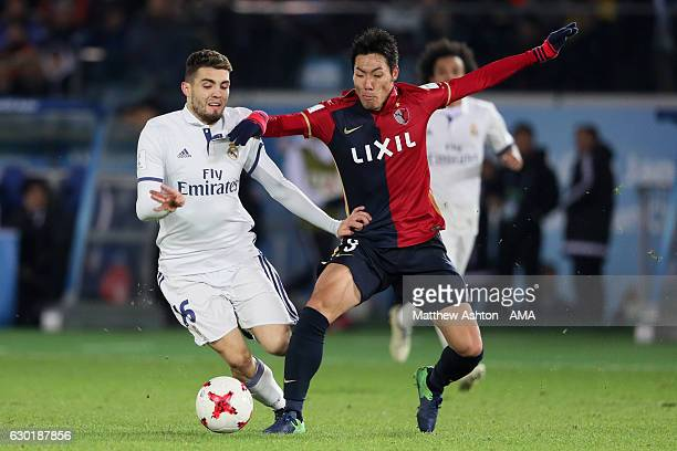 Mateo Kovacic of Real Madrid competes with Gen Shoji of Kashima Antlers during the FIFA Club World Cup final match between Real Madrid and Kashima...