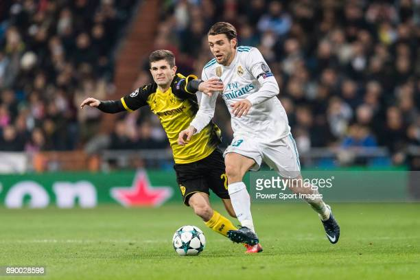 Mateo Kovacic of Real Madrid in action against Borussia Dortmund Midfielder Christian Pulisic during the Europe Champions League 201718 match between...