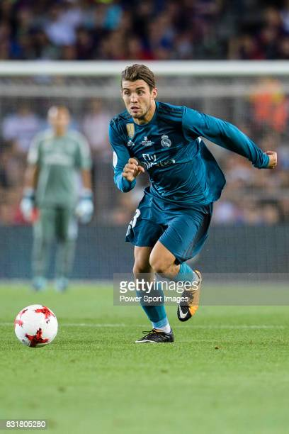 Mateo Kovacic of Real Madrid in action during the Supercopa de Espana Final 1st Leg match between FC Barcelona and Real Madrid at Camp Nou on August...