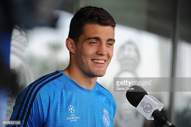 Mateo Kovacic of Real Madrid talks to members of the press at the mixed zone after the team training session at the Real Madrid Open Media Day ahead...