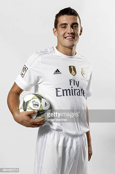 Mateo Kovacic poses during his official unveiling as a new Real Madrid player at Estadio Santiago Bernabeu on August 19 2015 in Madrid Spain