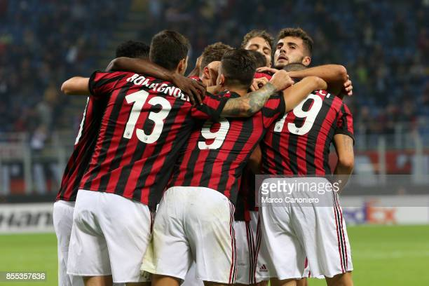 Mateo Musacchio celebrates his goal with his teammates during the UEFA Europa League group D football match between AC Milan and HNK Rijeka AC Milan...